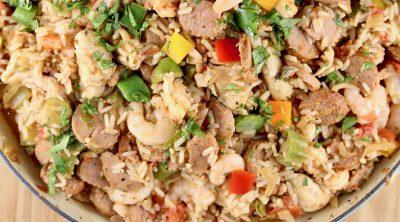 Pan of Jambalaya with chicken, sausage, shrimp and crawfish