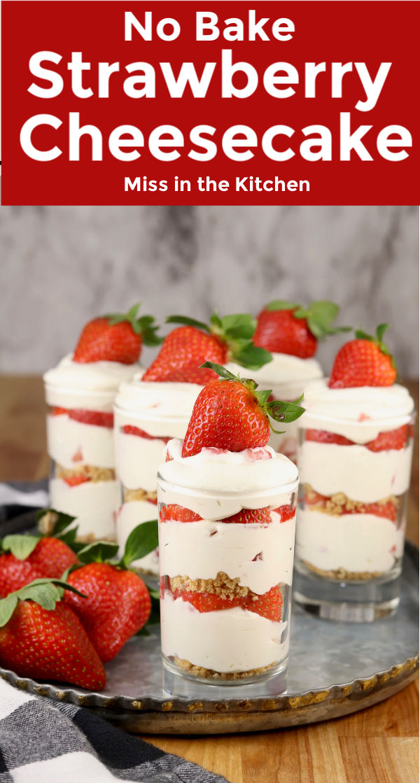 No Bake Strawberry Cheesecake with text overlay