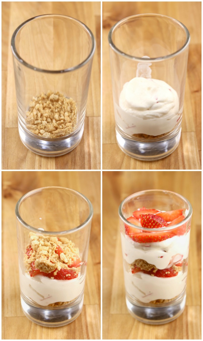 collage steps for no bake cheesecake layers