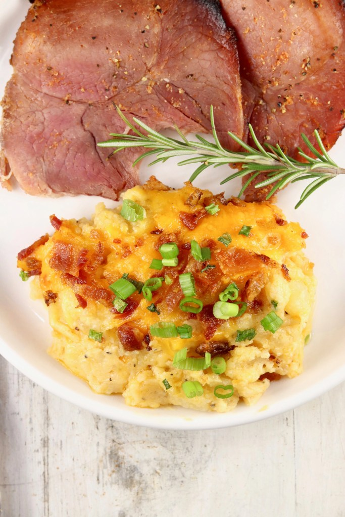 Plated baked potato casserole
