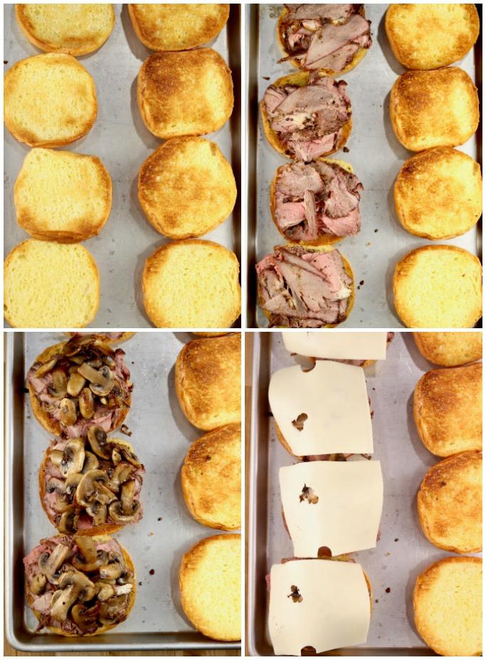 How to make mushroom and Swiss Roast Sandwiches