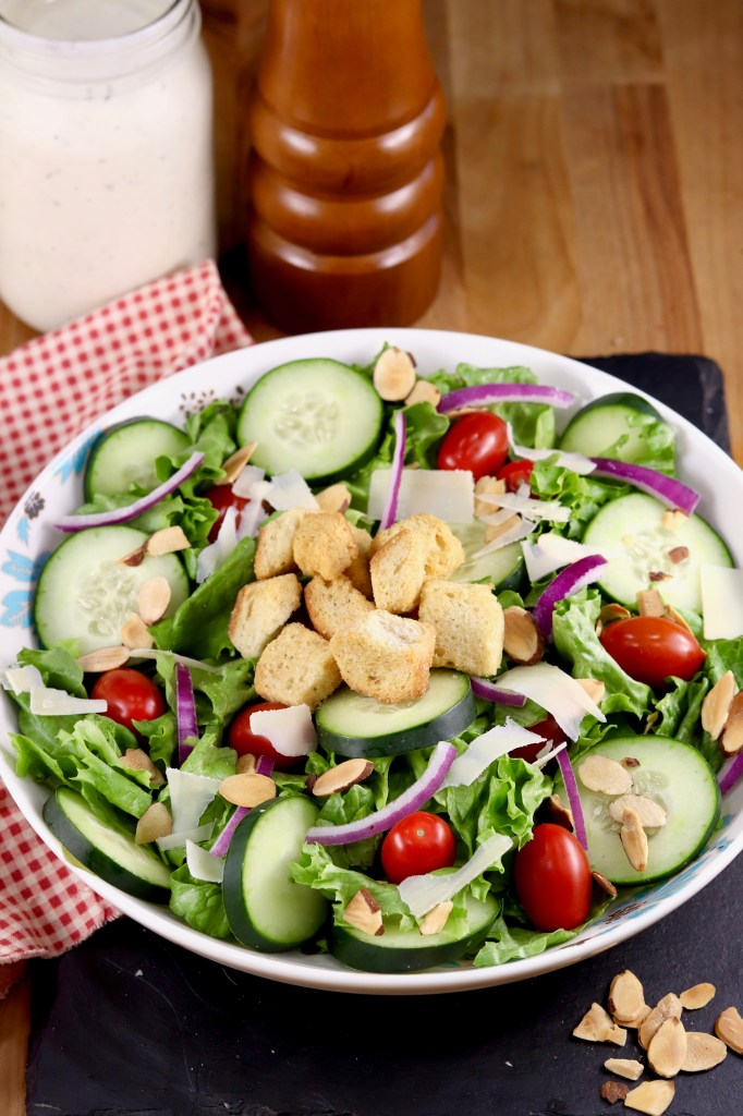Side salad with tomatoes and cucumbers