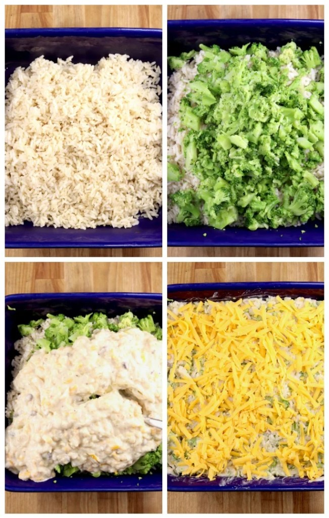 Broccoli Rice Casserole with onions and cheese