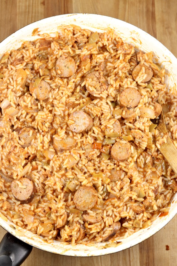 Skillet with sausage and rice dish