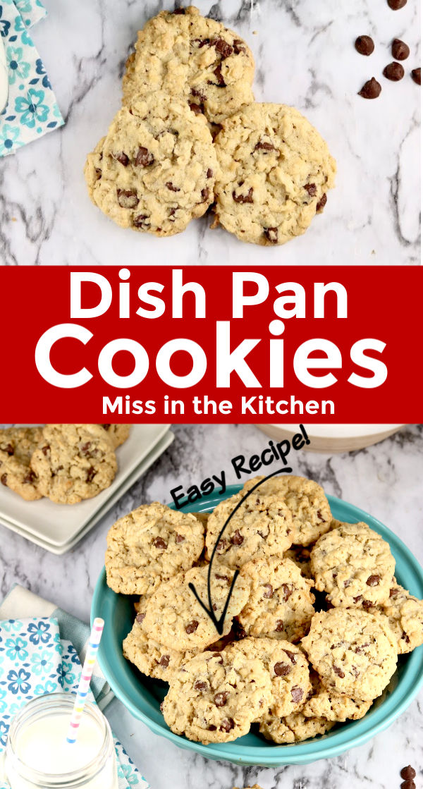 Collage - dish pan cookies with chocolate chips