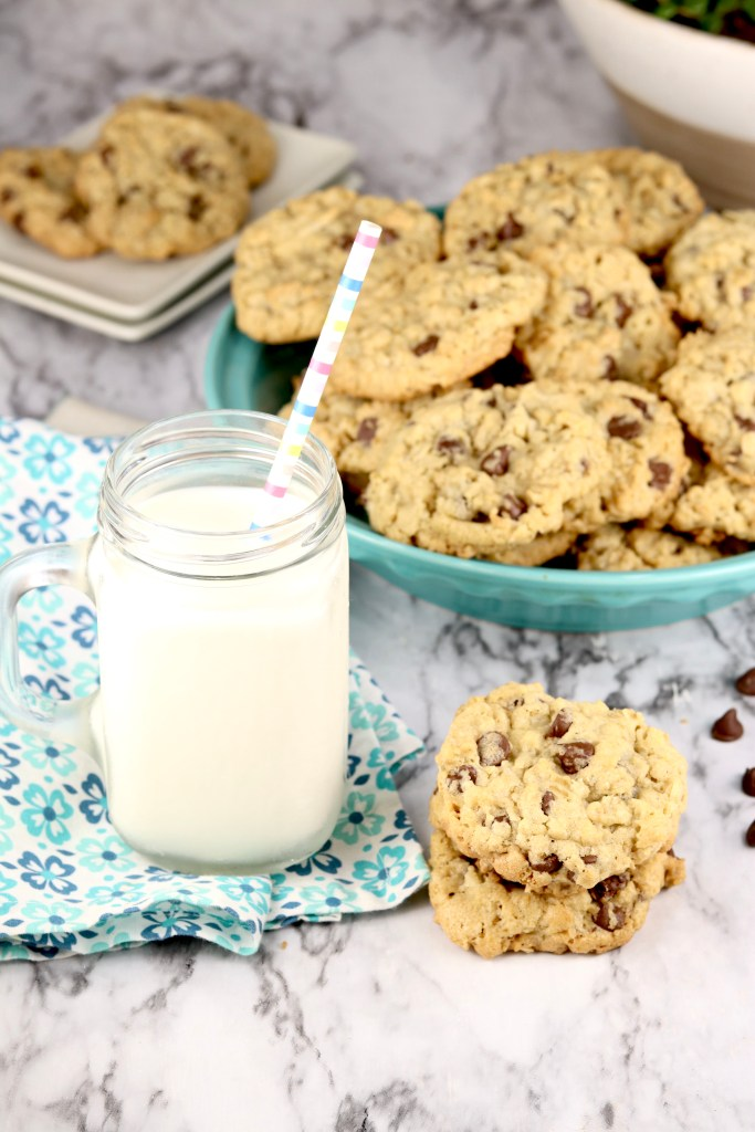 Dish Pan Chocolate Chip Cookies with milk