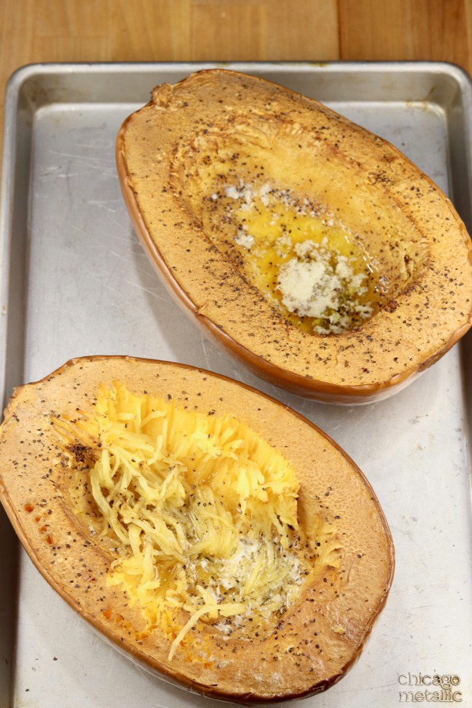 Grilled Spaghetti Squash on a sheet pan