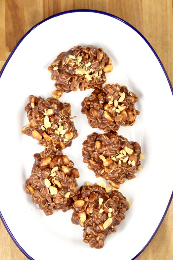 No Bake Cookies on an oval platter