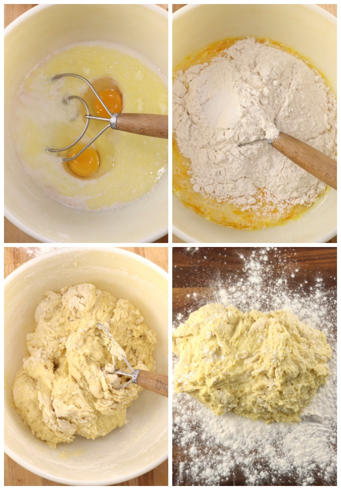Step by step making yeast dough for homemade cinnamon rolls