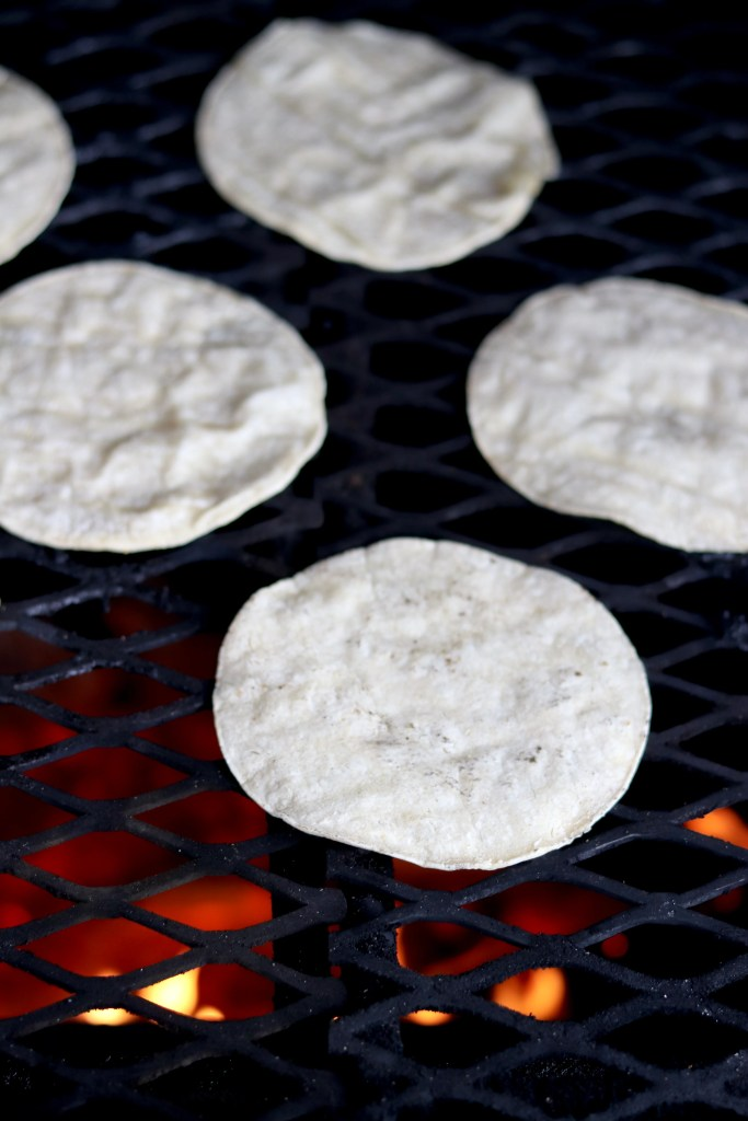Corn tortillas on grill