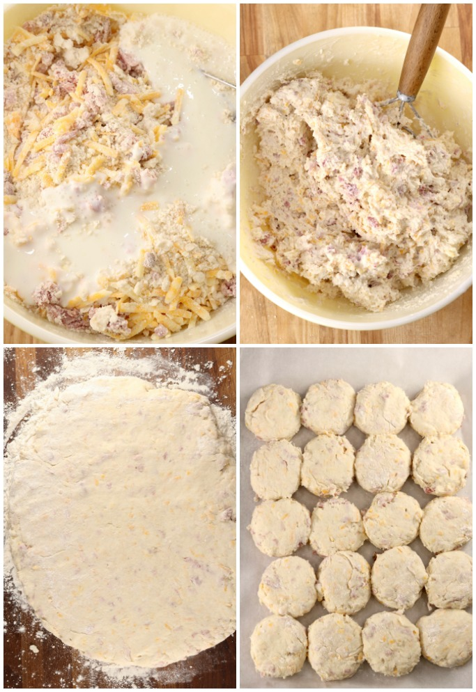 Step by step adding buttermilk to ham and cheese biscuits, cutting into biscuit shapes and placing on a sheet pan