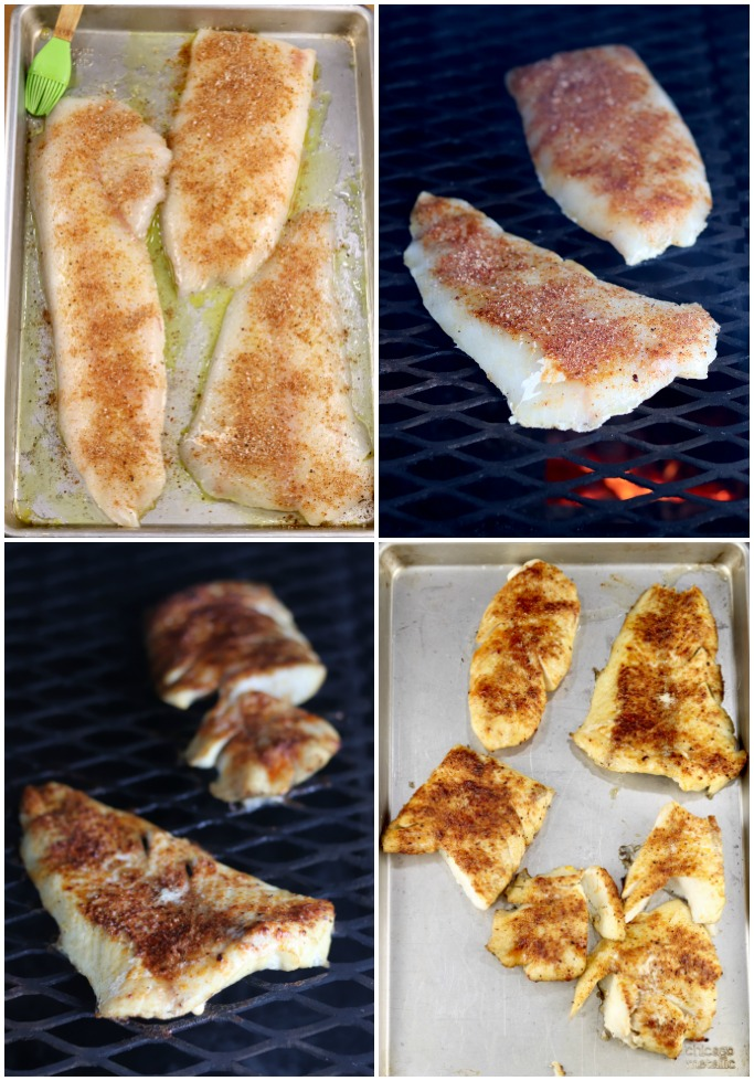 Step by step of grilling cod for tacos