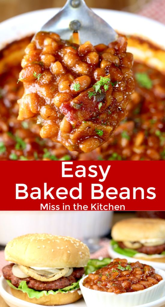Easy Baked beans, spoonful and plated with burger