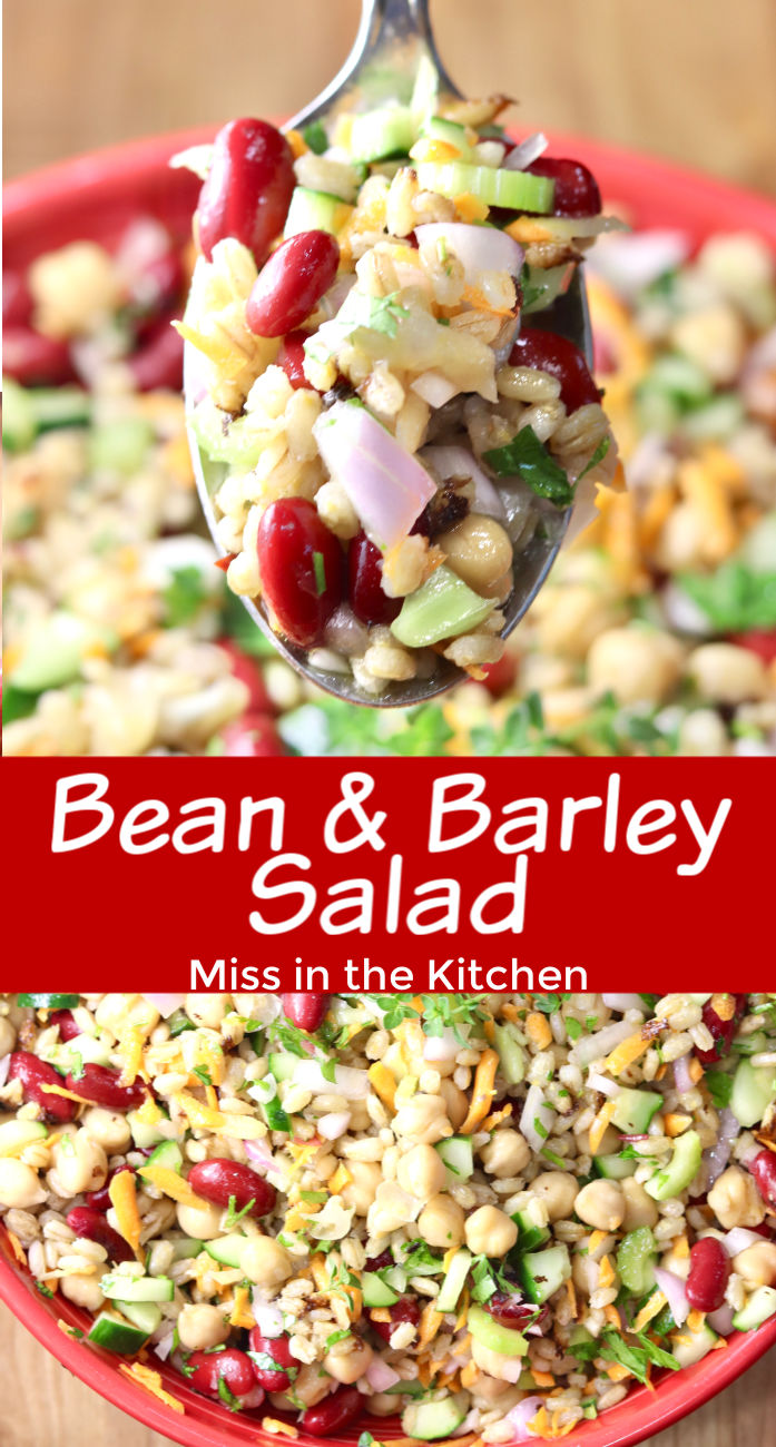Bean and Barley Salad with closeup spoonful