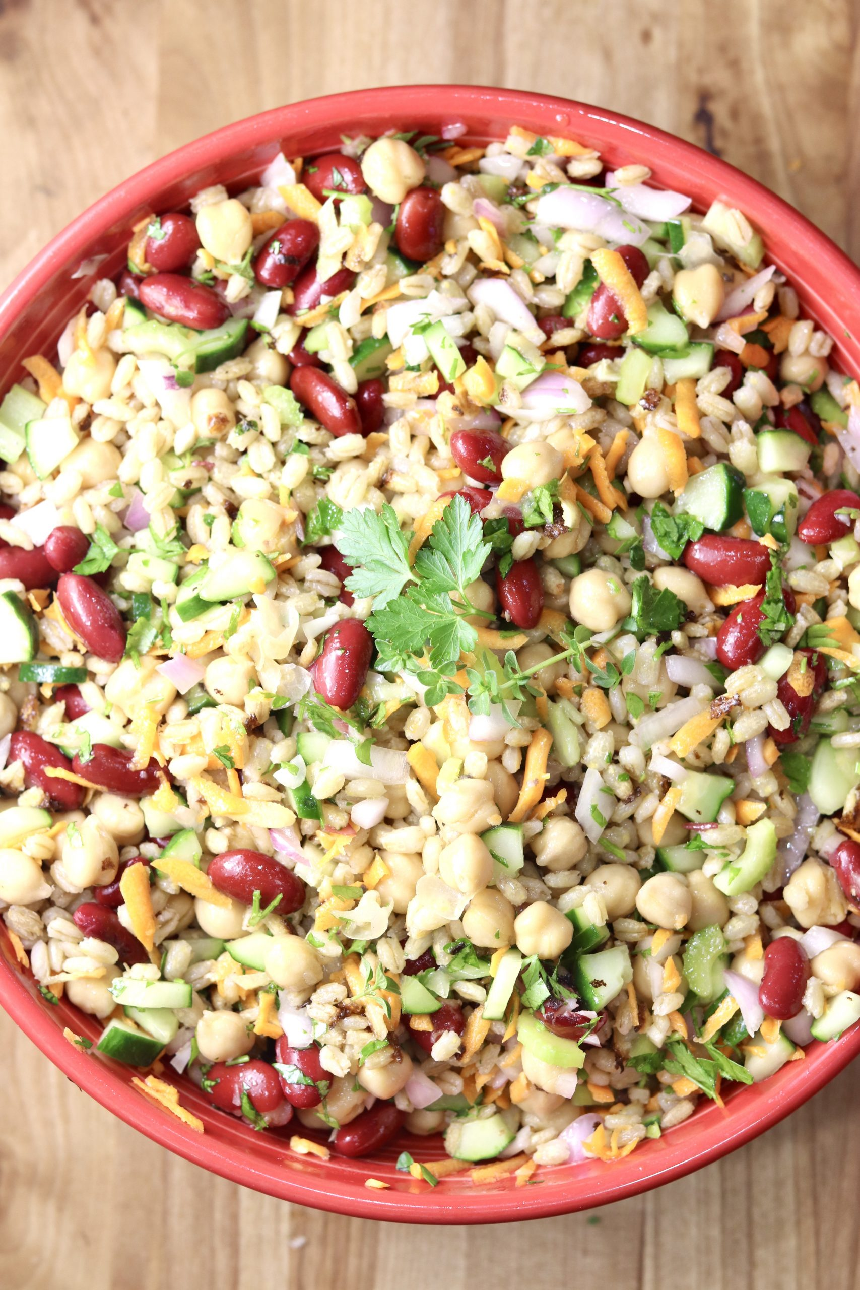 Beans, vegetables and pearl barley in a red bowl