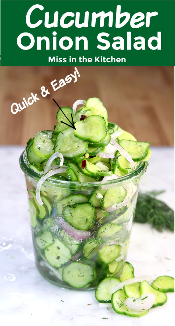 Cucumber and Onion Salad with text overlay