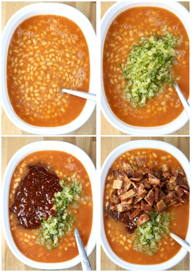 photo collage making baked beans with peppers, onions, barbecue sauce and bacon