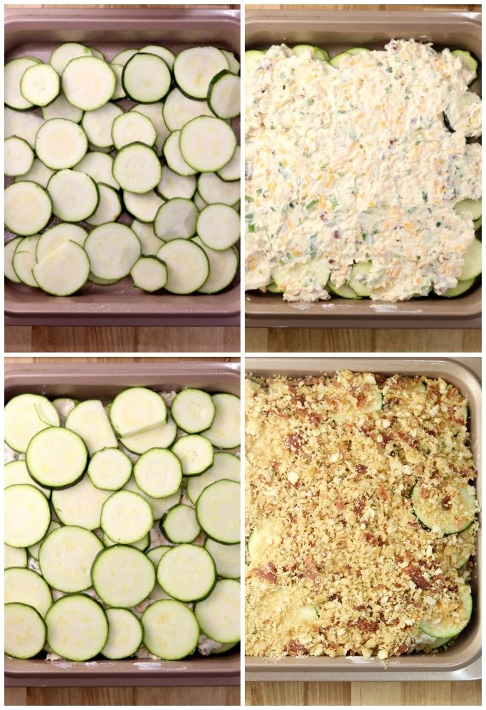 Layering zucchini casserole with creamy filling and cracker topping