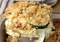 Jalapeno Popper Zucchini Casserole on a spatula