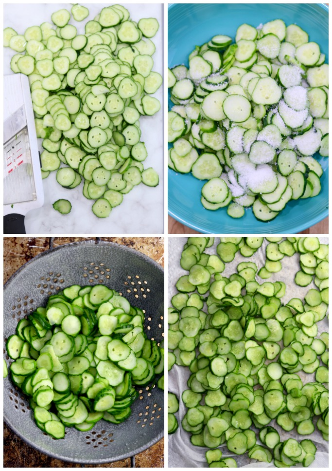 step by step photos salting cucumbers for salad
