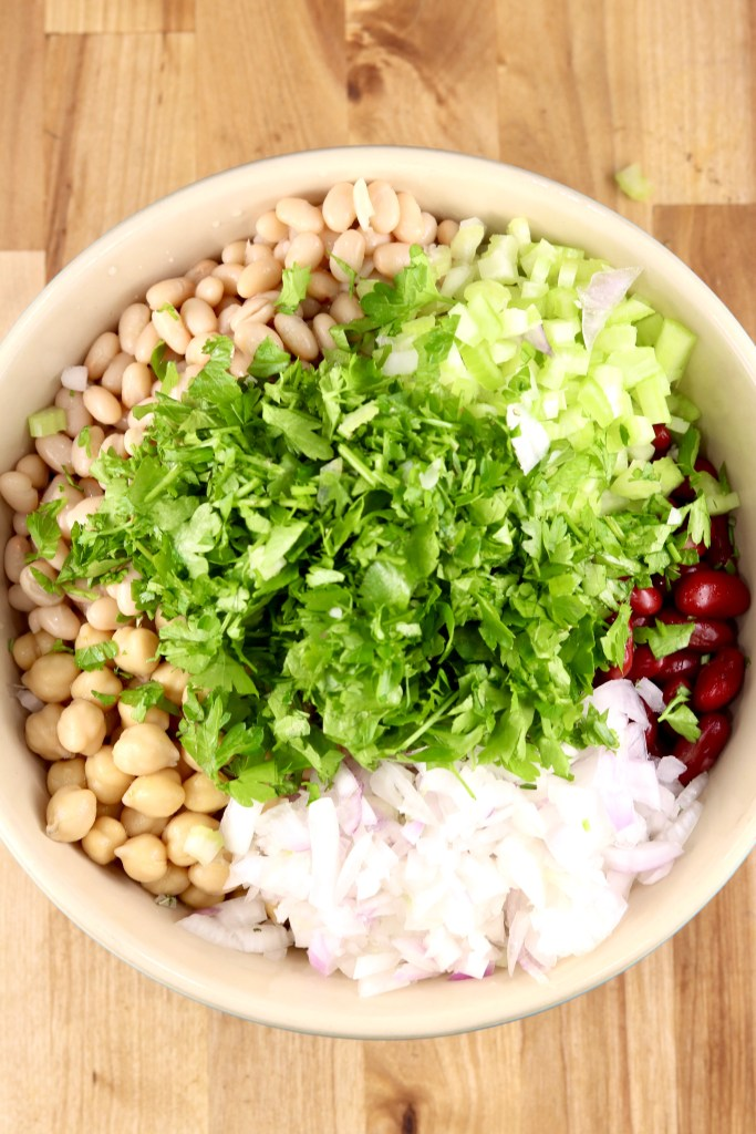 Vegetables and beans in a bowl for saladd