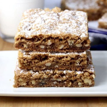 Date Bars with nuts - 3 bars stacked on a plate