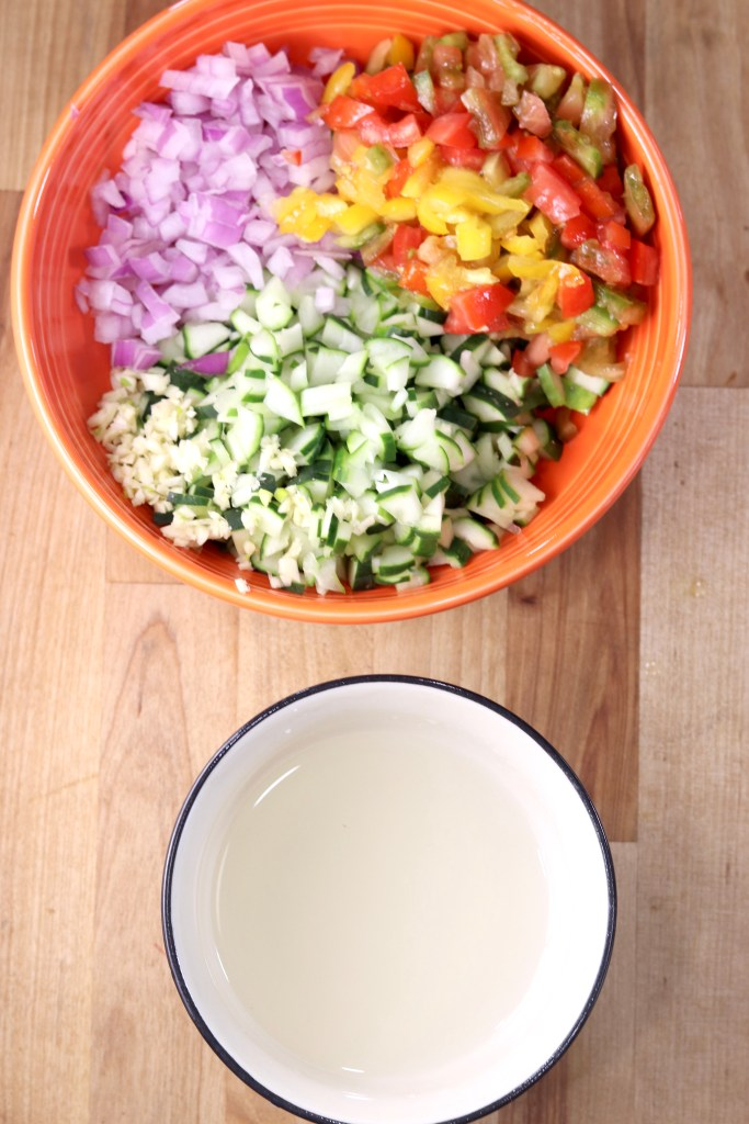 Chopped vegetable salad with vinegar dressing