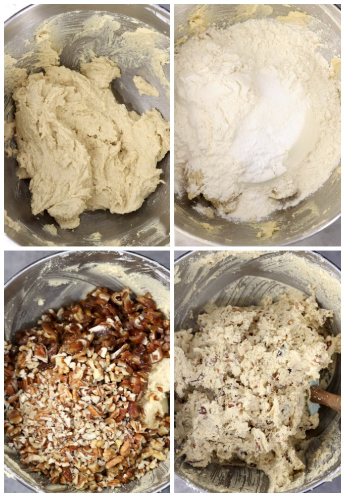Making date bars with nuts - collage mixing the dough