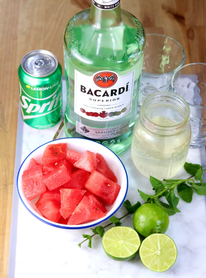 Rum, watermelon, Sprite, simple syrup, lime and mint for mojitos cocktails