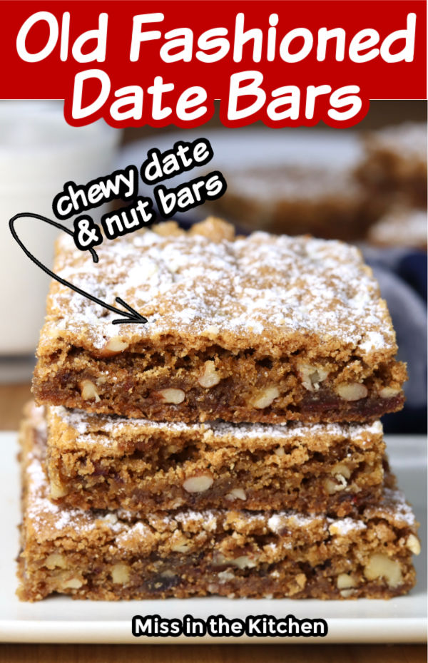 Date Bars with nuts stacked on a plate with text overlay