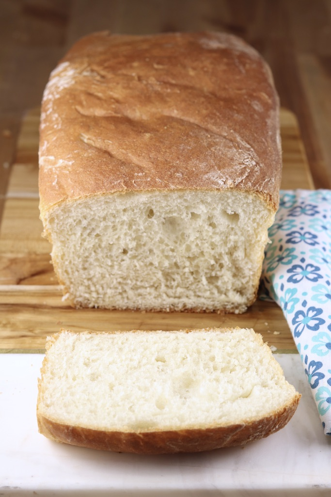 Slice of homemade white bread