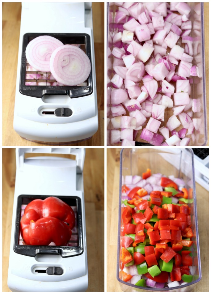 collage using a veggie chopper for red onion and bell peppers