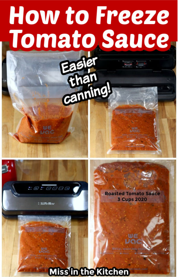 Collage how to freeze tomato sauce
