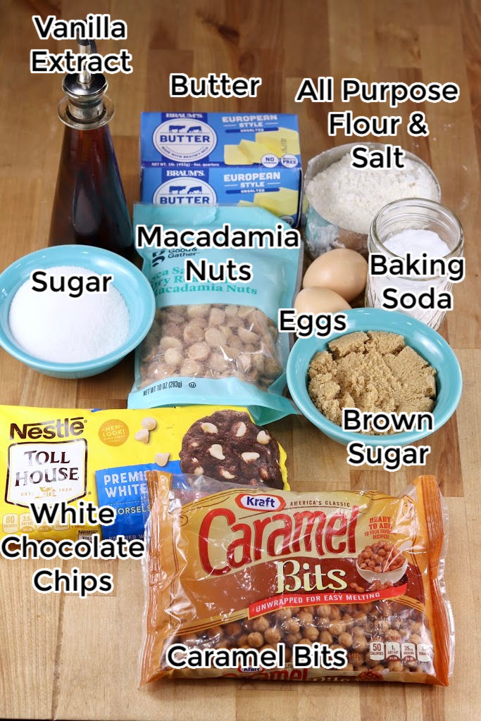 Ingredients for Caramel White Chocolate Macadamia Nut Bars: Vanilla, Macadamia Nuts, Flour, Salt, Brown Sugar, Sugar, Butter, Caramel Bits, white chocolate chips