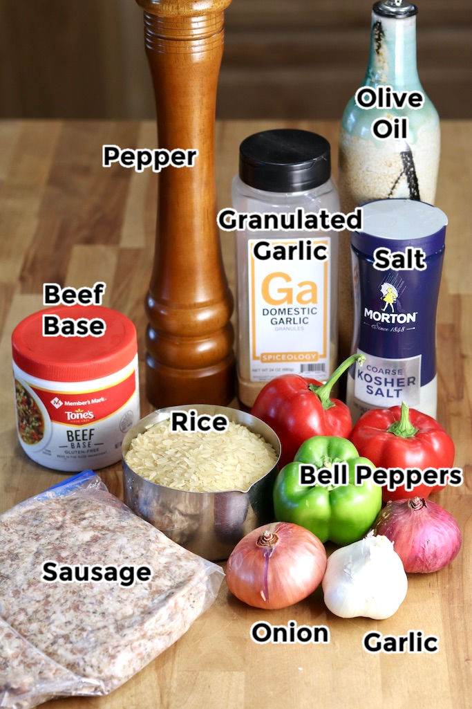 Ingredients for Sausage Pepper Rice