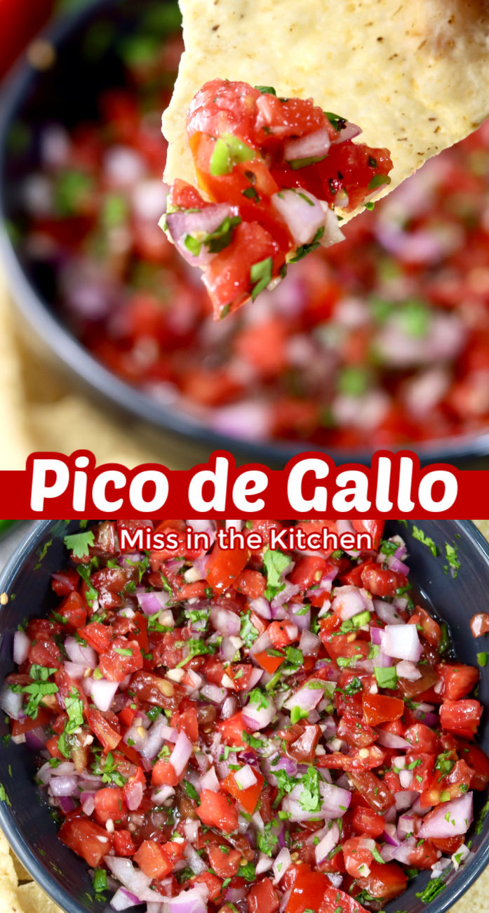 Pico de Gallo collage with close up of chip dipping and bowl of salsa