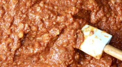 Marinara Sauce in a pan with a spatula