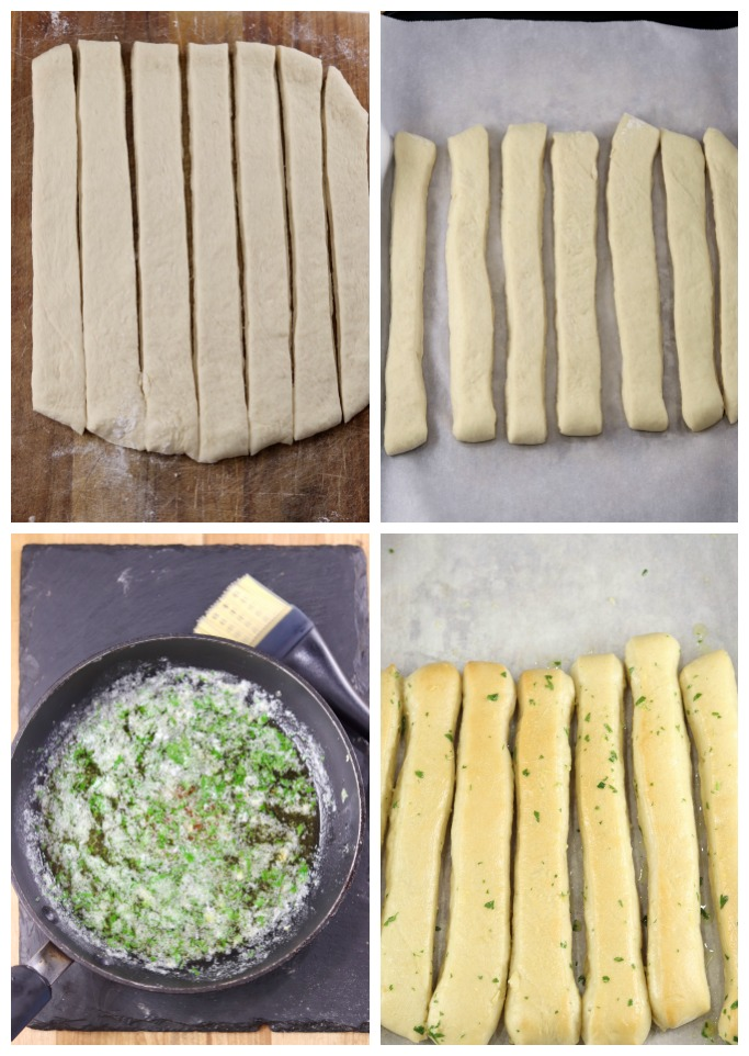 Breadstick dough cut into slices, on a parchment lined baking sheet, pan of garlic butter with parsley, baked breadsticks brushed with garlic butter - collage