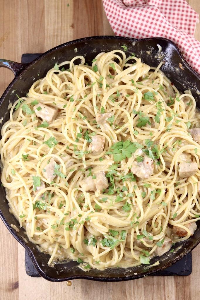 Creamy Lemon Garlic Spaghetti in a skillet