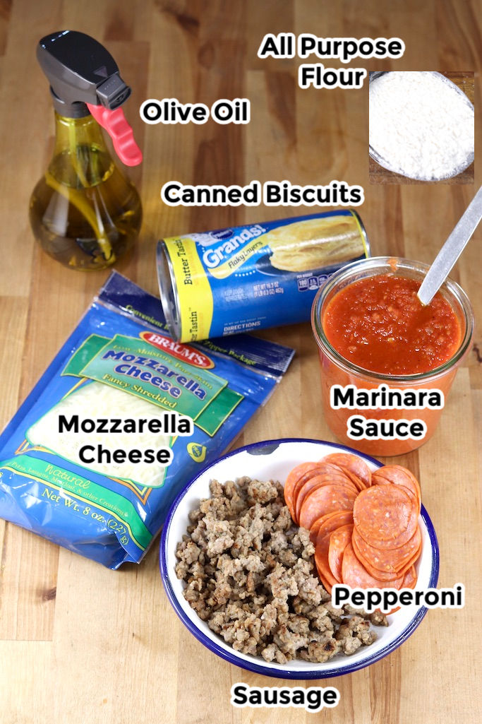Ingredients for air fryer pizzas
