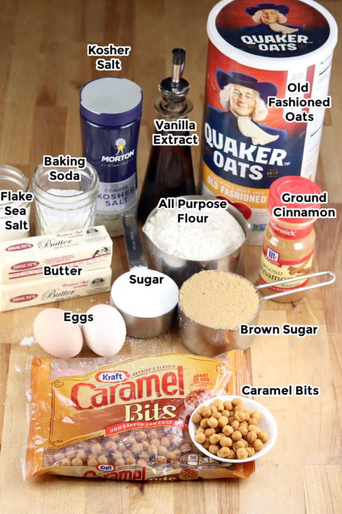 Ingredients with text labels for Caramel Oatmeal Cookies