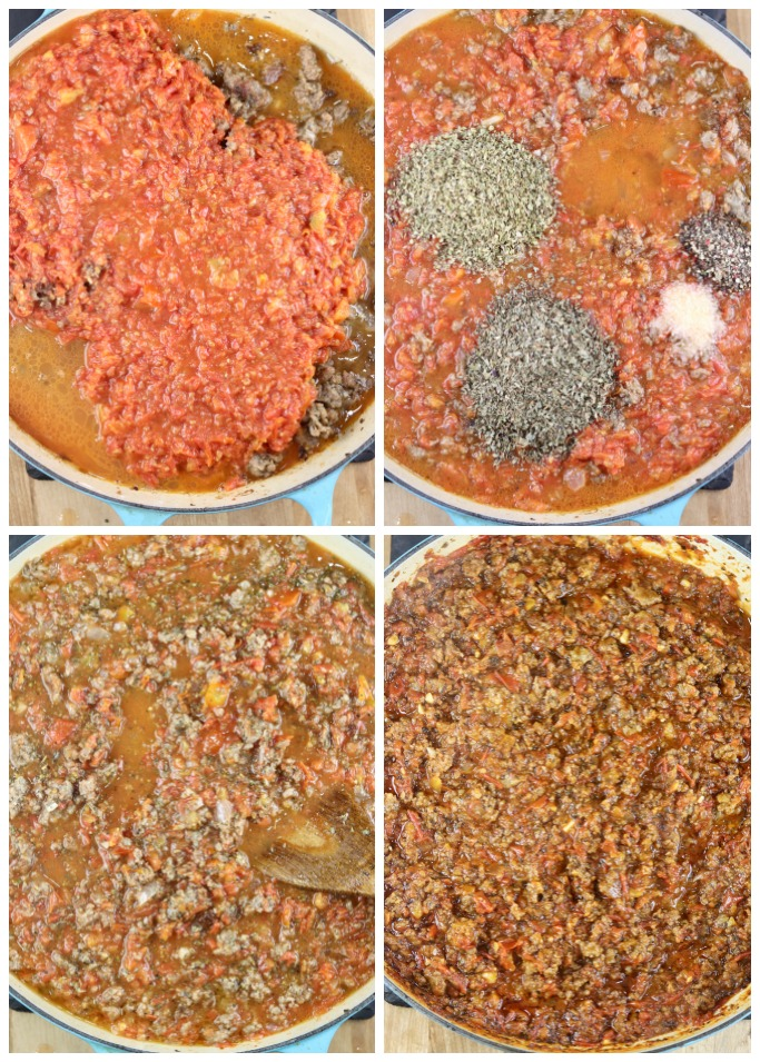 Making meat sauce with tomato, basil and oregano for baked lasagna