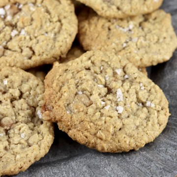 Salted Caramel Oatmeal Cookies with flecks of sea salt flakes on top
