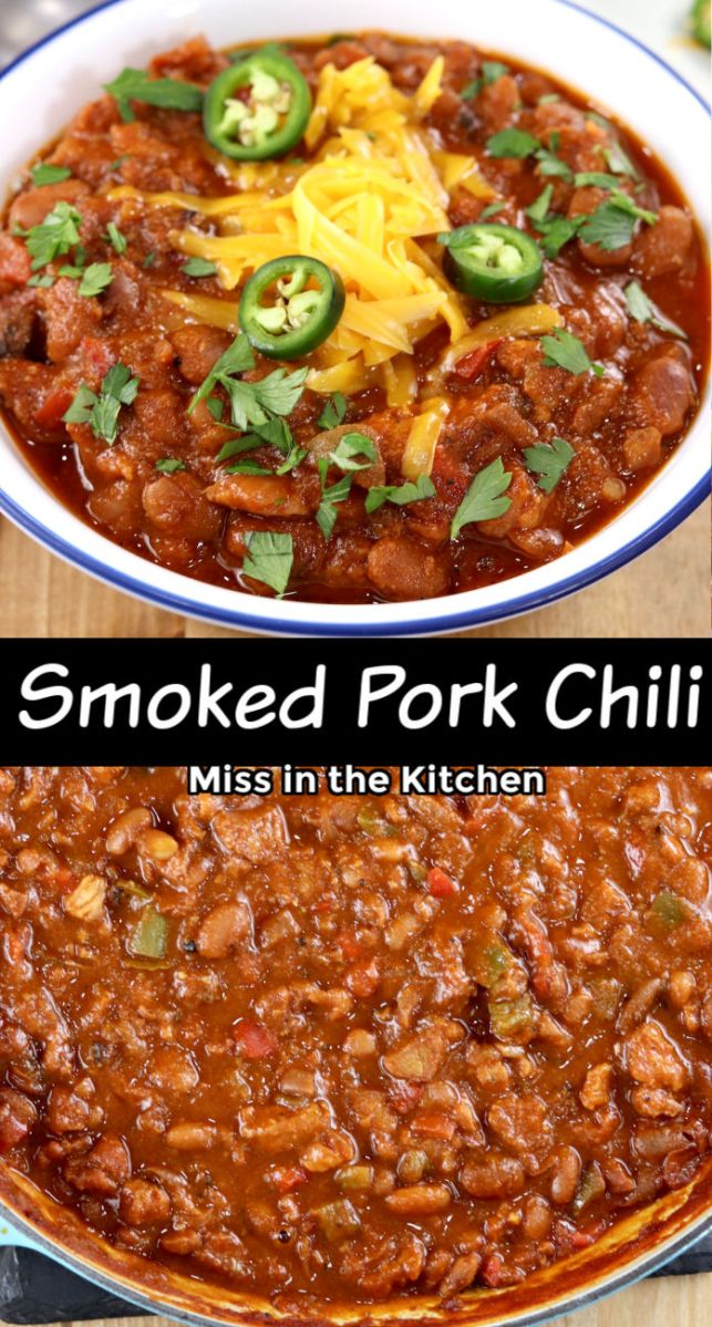 Smoked Pork Chili collage with bowl and pan