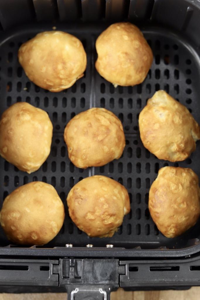 Air fryer apple pie bombs, baked golden brown