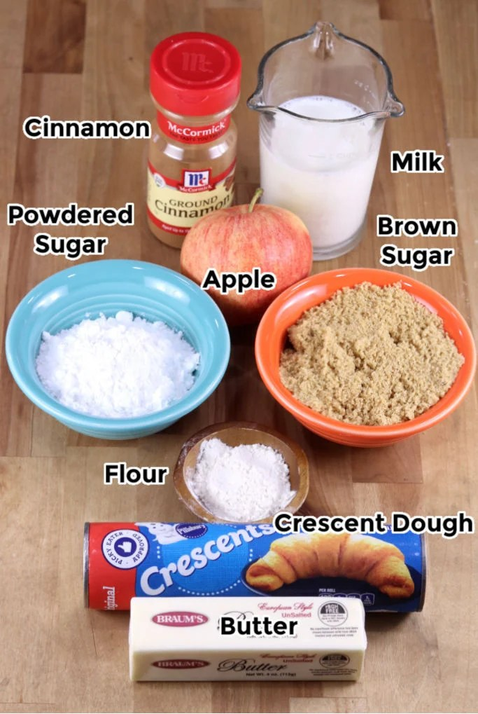 Ingredients for apple cinnamon rolls made with crescent dough