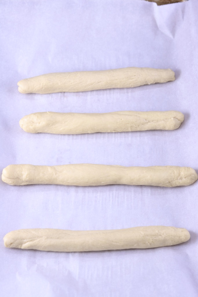 Biscuit dough rolled into breadsticks