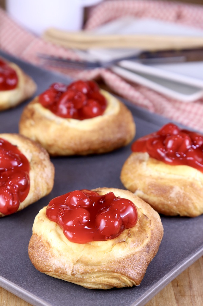 Cherry Cheese Danish on a tray