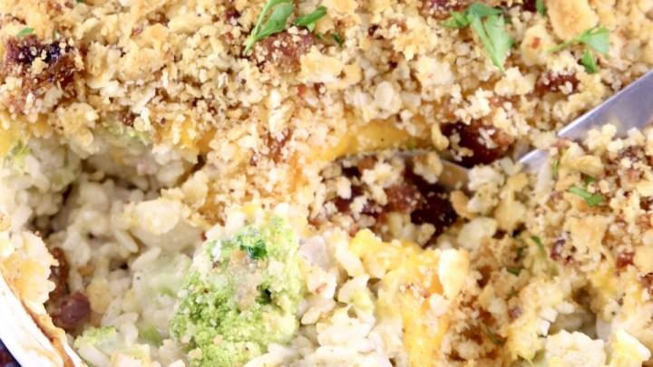 Chicken Broccoli Rice Casserole in a casserole dish