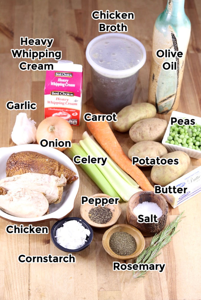 Ingredients for chicken pot pie soup